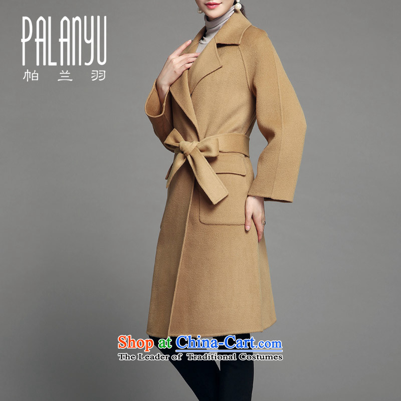 Palun Yu high-end double-side cashmere overcoat extension in the long strap�15 winter new gross Ms. jacket? woolen coat pure colors to manually feed belt燳D099 and color燲L