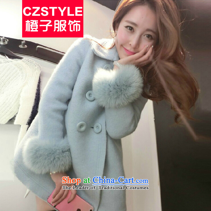 The fox 2015 gross czstyle Fall_Winter Collections new Korean version of large in long thin hair? jacket graphics wool a wool coat A Version field female Blue M