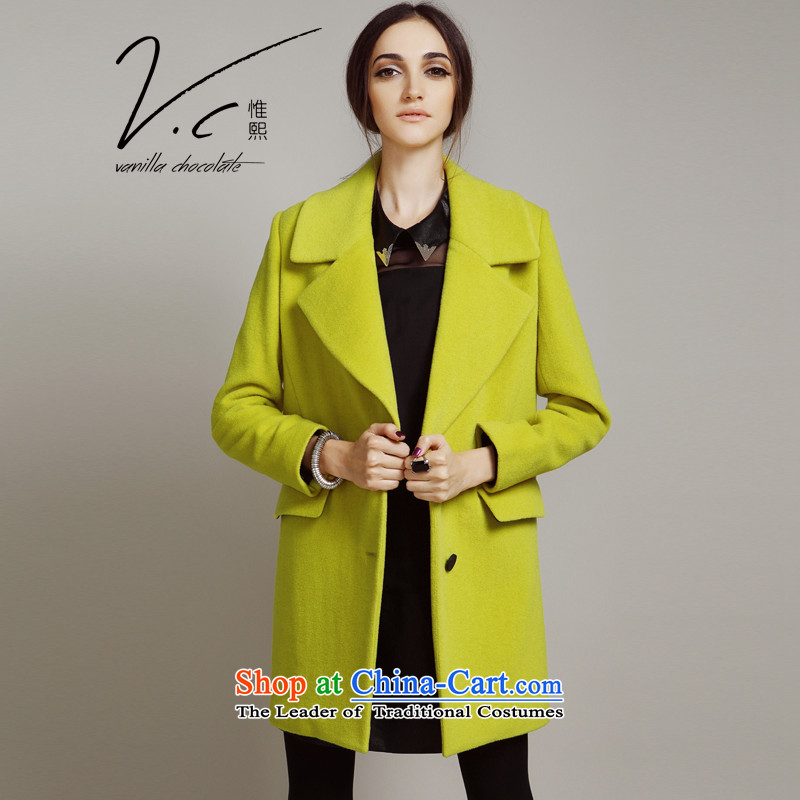 Europe and the original girls V.C boxed loose in long a wool coat 2015 autumn and winter new pure color woolen coats female lemon yellow? L