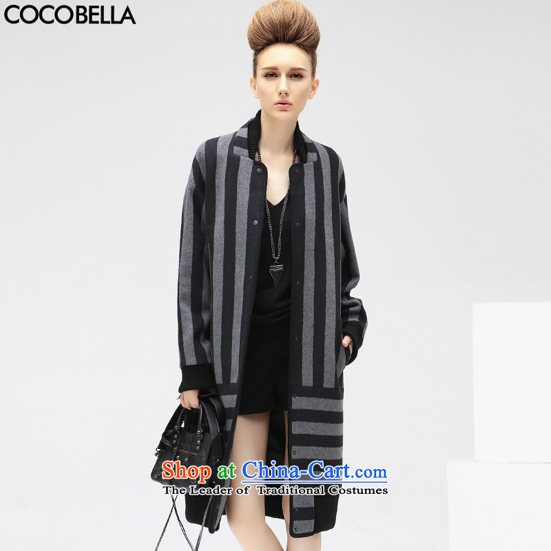 The autumn 2015 new COCOBELLA van in Europe and the long loose streaks female hair? CT303 dark gray stripes jacket燤