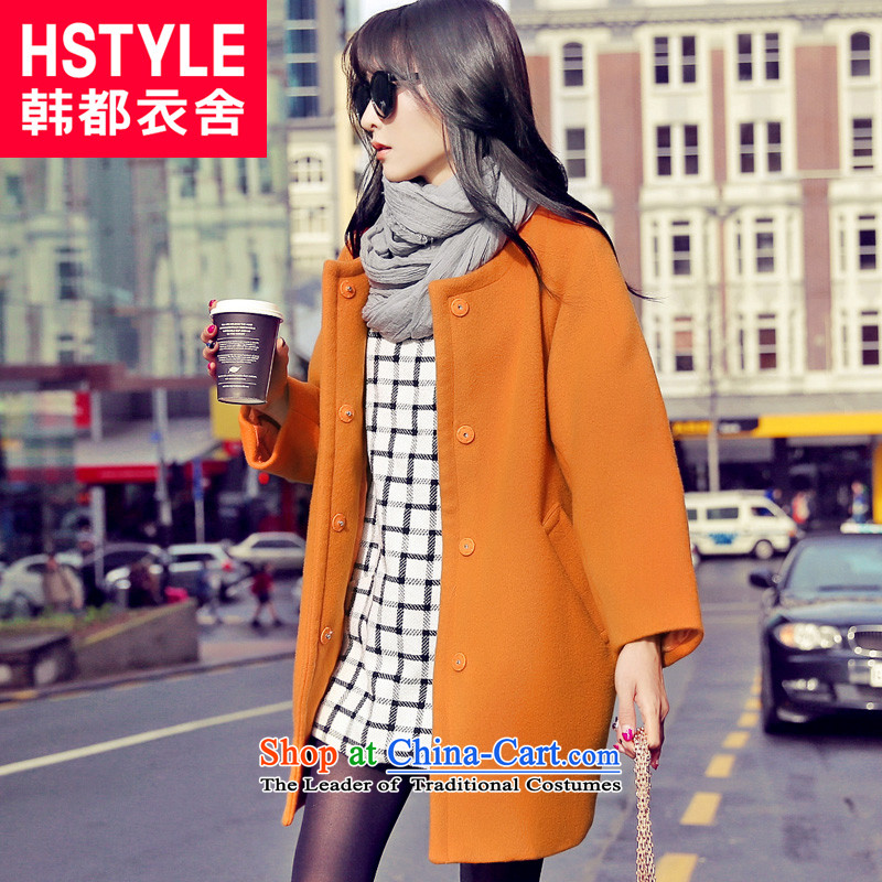 Korea has the Korean version of the Dag Hammarskj鰈d yi 2015 winter clothing new women's loose solid color round-neck collar video thin coat GD3209 gross? Restaurant Orange燬