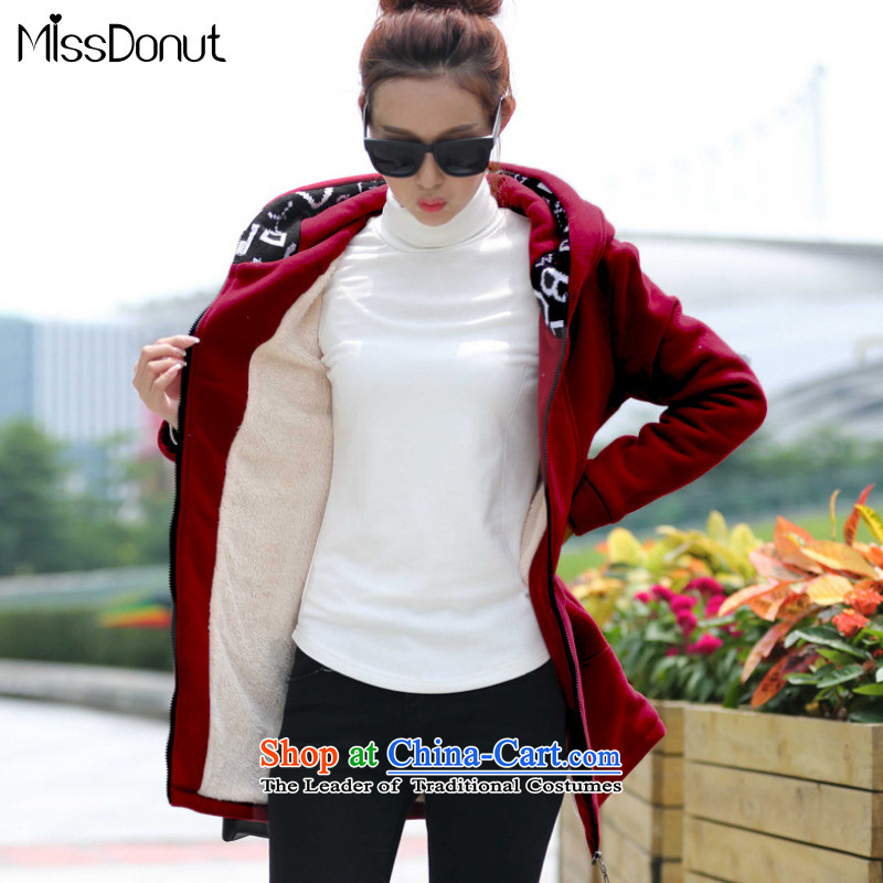 The ad to increase missdonut code ladies casual clothing of 200 mm in the catty thick sister long sleeves and lint-free cloth gross thick coat cardigan wine red large XXL recommendations 155-170 catty