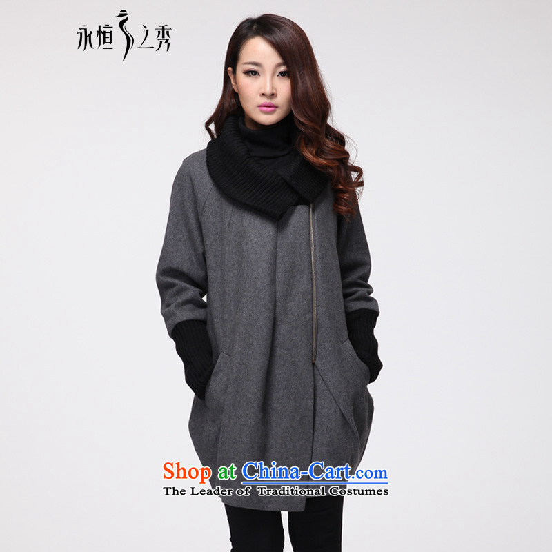 The Eternal Soo-to increase women's code gross? 2015 autumn and winter coats jacket with new product version won thick mm thick, Hin thin sister gross? LADIES CARDIGAN gray jacket 2XL
