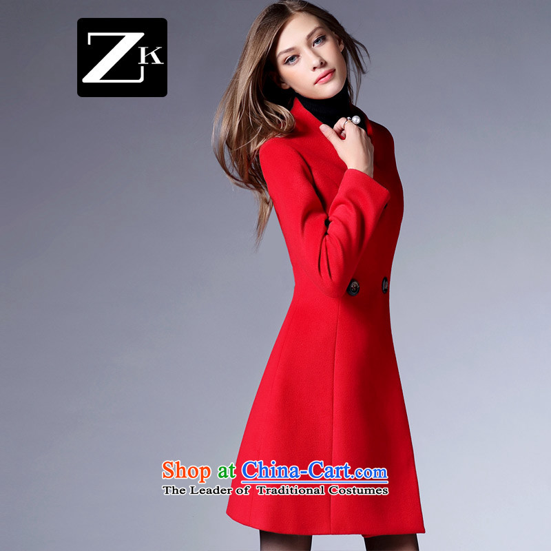 Zk Western women?2015 Autumn new stylish simplicity in gross? jacket long graphics thin hair Sau San a wool coat RED?M