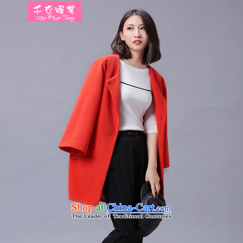 Chin Yi warm winter of 2015 Korea Advisory version round-neck collar small incense wind pure color coat? female minimalist wide sleeves gross? graphics thin cardigan jacket orange M