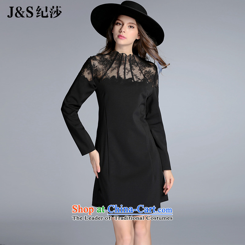 Elizabeth 2015 autumn and winter discipline with the new Europe and the large number of ladies to intensify the thick sister lace dresses Sau San long-sleeved stitching A Skirt燩Q8088-�L black