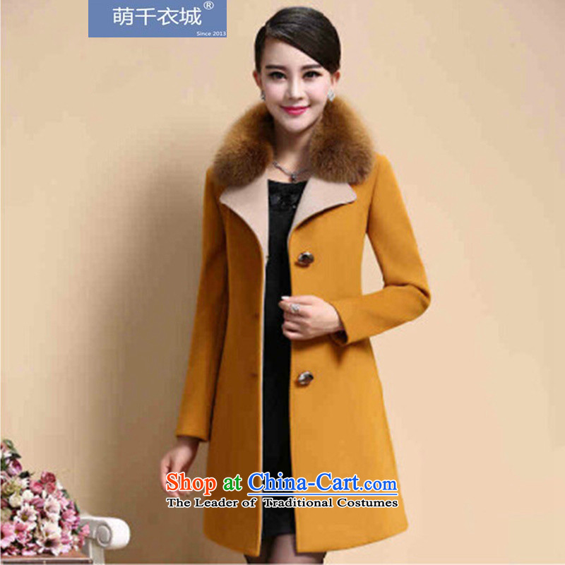 Thousands of Yi  2015 autumn and winter new Women's jacket and long)? Emulation Fox Maomao z62320 coat? Yellow XL