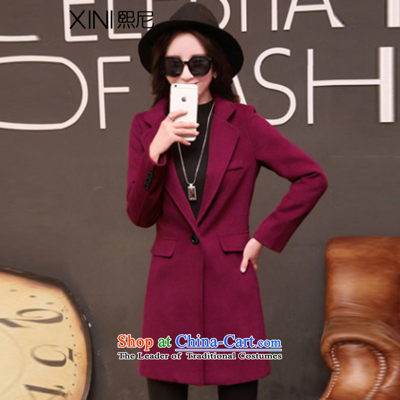 The 2015 autumn and winter-hee load new Korean fashion is a grain long overcoat so gross plus female BOURDEAUX?M