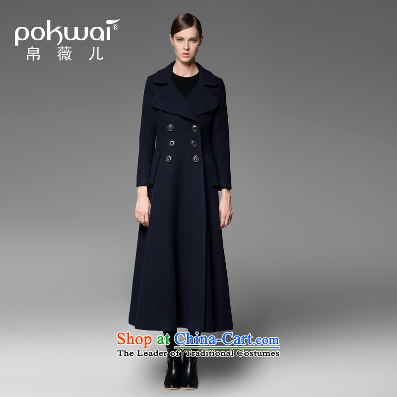 The Hon Audrey Eu Yuet-yung 2015 9POKWAI_ winter clothing new pure color lapel long double-blue overcoat so gross L