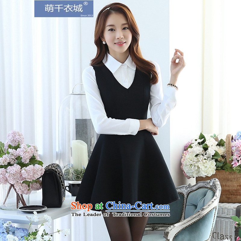 Thousands of Yi 2015 autumn and winter new Korean female new dresses gas tank skirt two kits LYQ4521 picture color燬