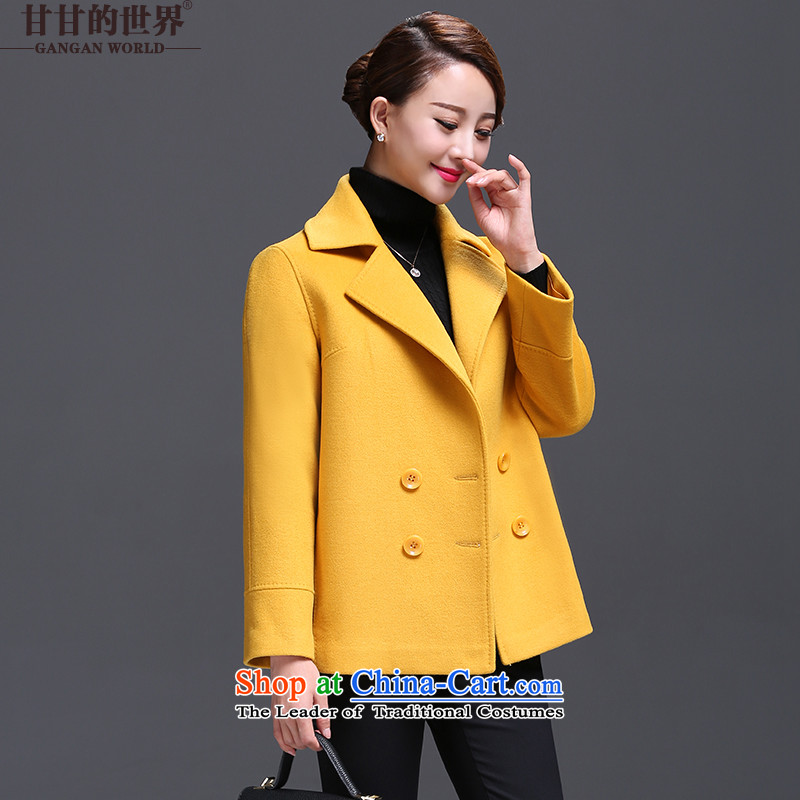 Gangan world large middle-aged female short hair? jacket, 2015 autumn and winter new high-end women a wool coat Yellow燤