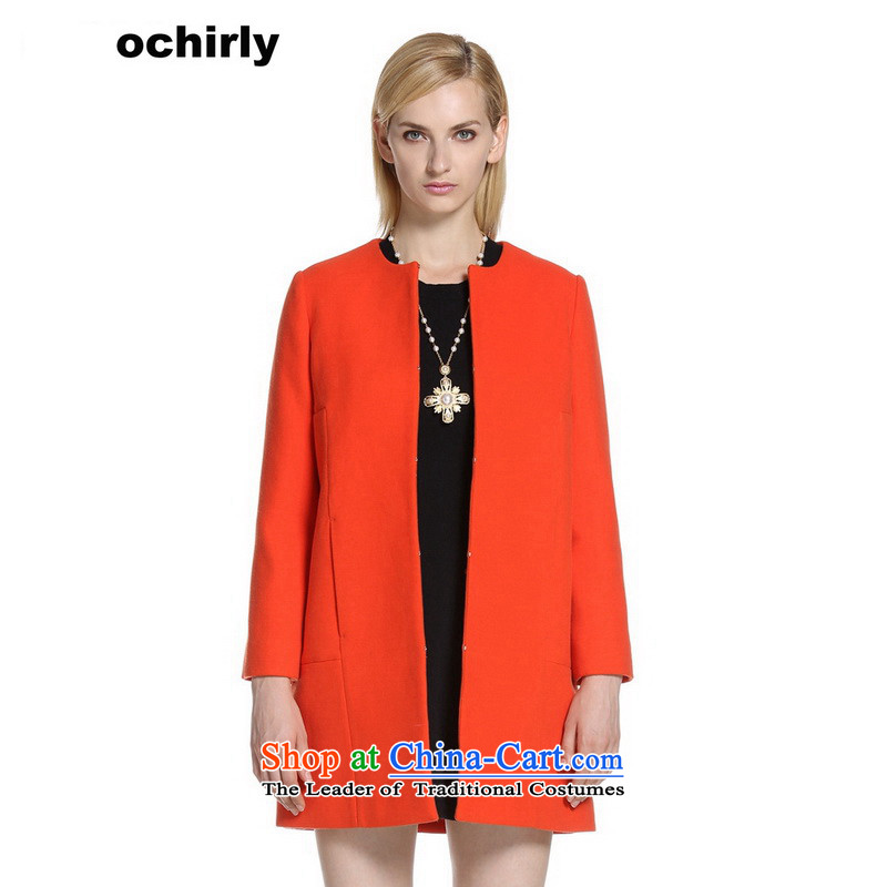 The new Europe, ochirly female minimalist solid color in the long cotton loose overcoat 1143056260 M_165_88a_ Orange 140