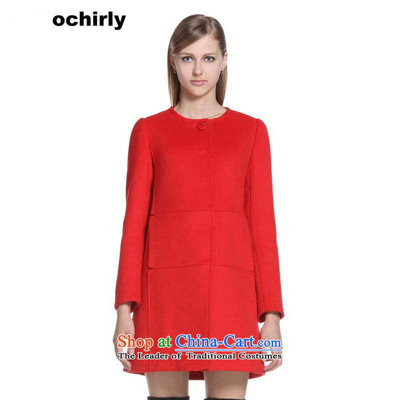 The new Europe, ochirly female round-neck collar loose in pure color long wool coat 1143346140? 120 XS_155_80A_ red