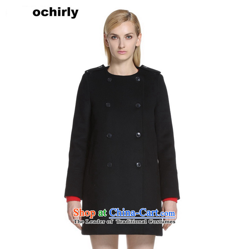 The new Europe, ochirly female double-pure color in the long wool overcoats 1143346250? black S_160_84a_ 090