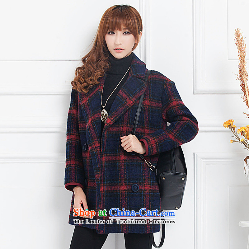 Diana's winter coats female autumn and winter latticed gross? Long butted thick a wool coat women聽1032聽LATTICED聽M