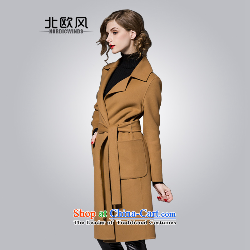 The Nordic wind cashmere overcoat girl of燼utumn and winter 2015 new products for women in Europe and the solid color long lapel pockets bow tie strap gross and female color jacket?燲L