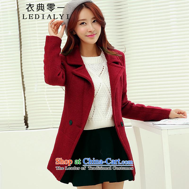 Yi Code 0001 gross girls jacket? Long 2015 Fall_Winter Collections new Korean fashion thick han bum Sau San winter a wool coat wine redM