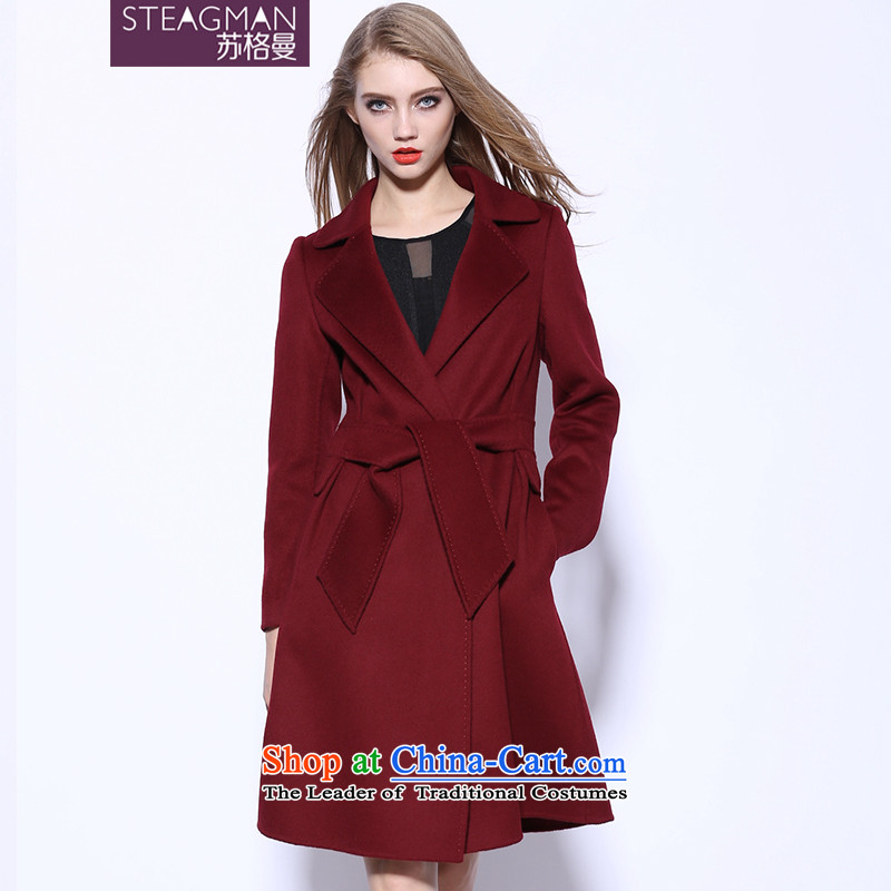 Su Ge Cayman 2015 autumn and winter new plain manual two-sided cashmere cloak? female gross in long wool coat female 80270? wine red?XL