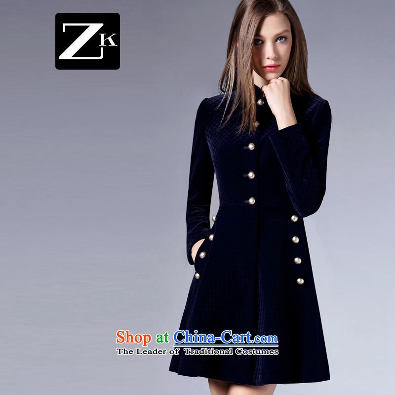Zk Western women�15 Autumn New_ Solid Color minimalist jacket in gross? Long Sau San video thin a wool coat Blue燤