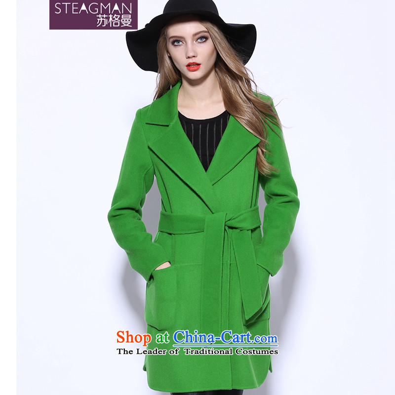 Su Ge Cayman 2015 autumn and winter new plain manual two-sided cashmere overcoat gross? cashmere women long wool coat female 80340? green燲L