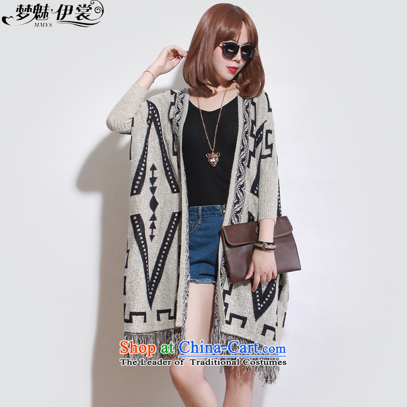 The staff of the Advisory Committee this autumn and winter load to increase women's code thick mm loose video stream in long thin, knitting sweater cardigan jacket apricot color will loose
