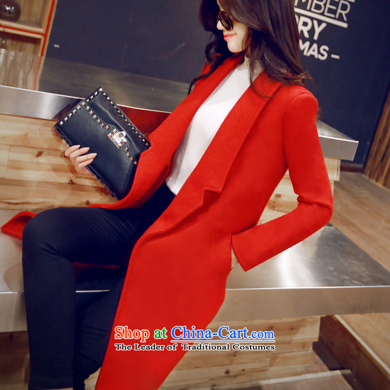 Install the latest autumn and winter czstyle2015, Korean women who are thin hair? graphics coats that long wool a wool coat jacket female Red General version M commerce6826