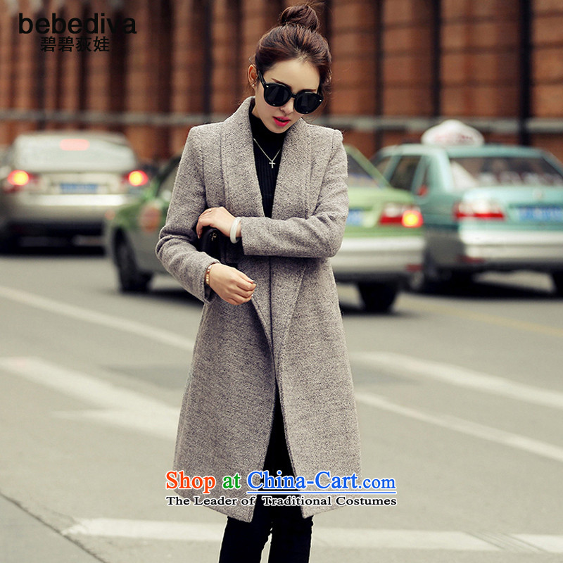The autumn and winter, new bebediva2015, Korean long-sleeved jacket is     gross in large long thick a wool coat gray燲L