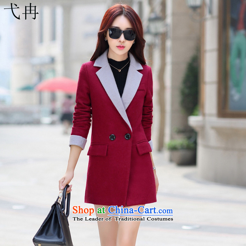Cruise in the autumn and winter 2015 more new products in the lapel long long-sleeved jacket N394 a wool coat wine red燤