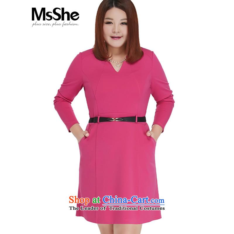Msshe xl women 2015 new autumn replacing thick MM Sau San V-small collar dresses 10692 Red� 4XL