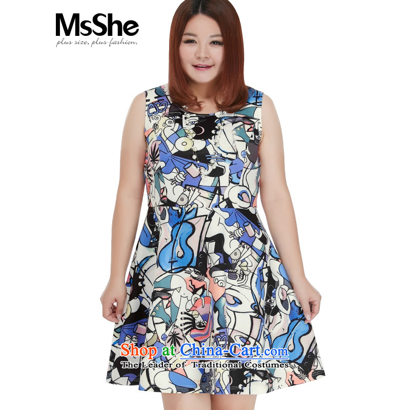 Msshe xl women 2015 new fall thick MM stamp air load layer sleeveless A swing dresses 10552 purple flowers on white4XL