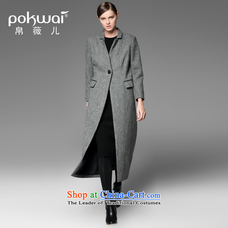 The Hon Audrey Eu Yuet-yung 2015 9POKWAI_ autumn and winter western original design long coats gray temperament L
