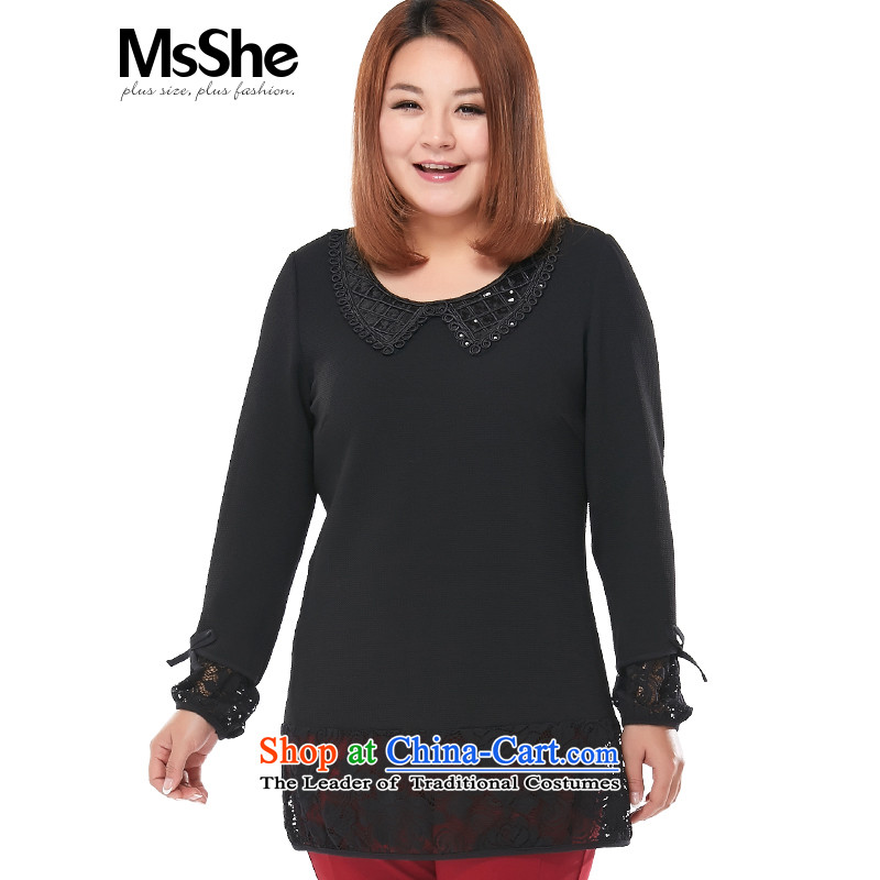 Msshe xl women 2015 new fall inside the elegant Wild Child collar lace long thick coat 2916 Black3XL MM