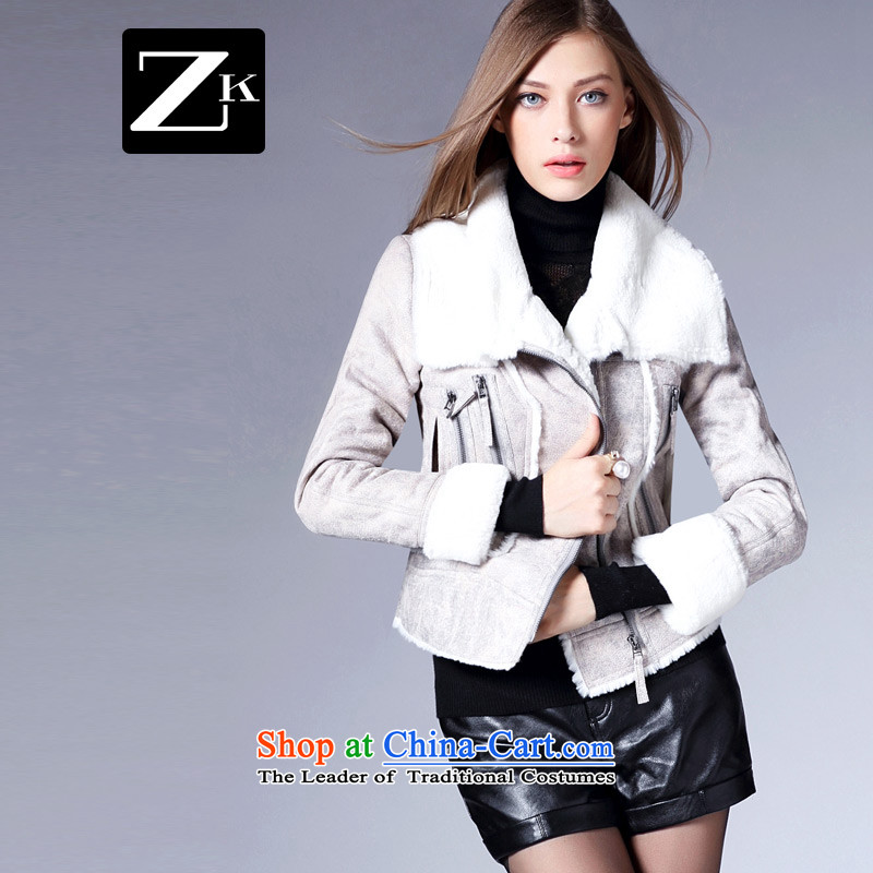 Zk Western women 2015 Autumn New_ long hair? jacket minimalist commuter Sau San pure color a wool coat all long-sleeved gray M