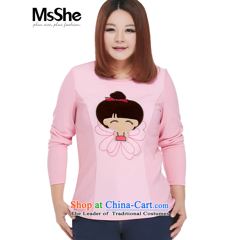 Msshe xl women 2015 new 200 catties fall inside the lovely pattern shirt 10550 long-sleeved T-shirt pink 6XL