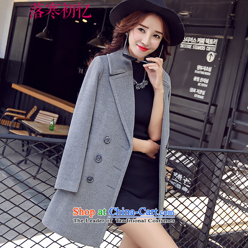 Recalling the Early Cold Fall 2015 autumn and winter in new long hair a wool coat Women's jacket Korea version thin double-CY15MN02 Gray L