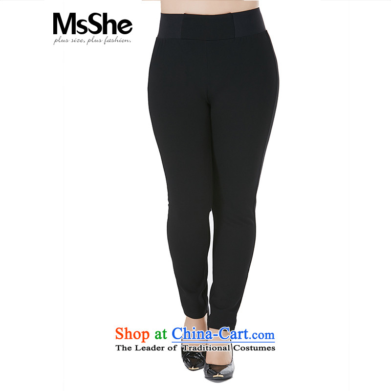 Msshe xl women 2015 new fall thick MM wild ladies pants brushed Thick coated trousers pre-sale brought to the black - pre-sale to the T4 12.10