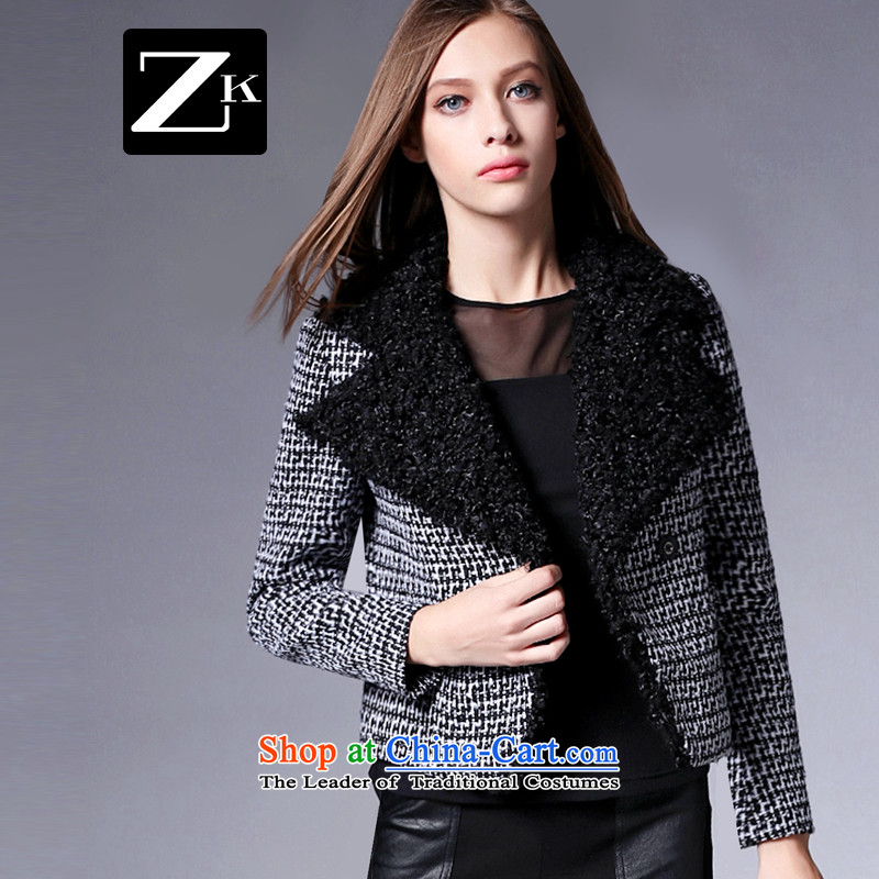 Zk Western women 2015 Autumn new gross short of Europe and the jacket? long-sleeved jacket for Sau San pure color a wool coat gray S