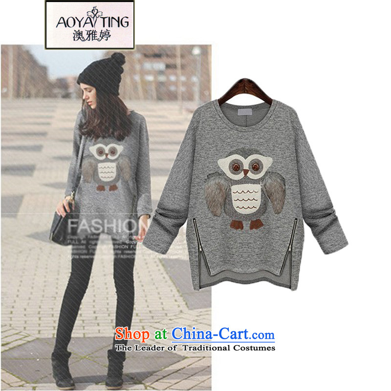 O Ya-ting to increase women's code 2015 autumn and winter thick mm new western graphics thin owl thick plus lint-free kit and sweater, forming the round-neck collar shirt + gray shirt female embroidery�L�5-165 recommends that you Jin