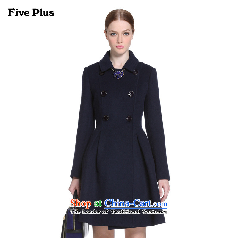 Five new female autumn load plus a solid color, double-skirt swing wool coat 2YD4344820? 650 S_160_84a_ Dark Blue