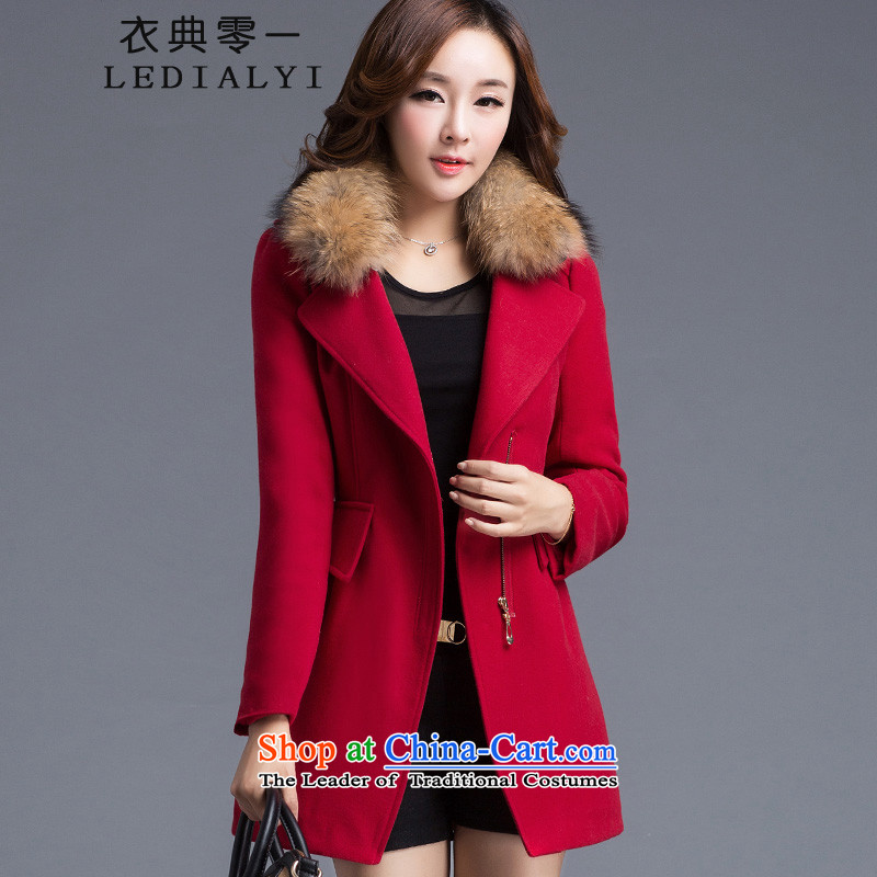 Yi code 12.01 2015 Fall_Winter Collections for women won the new version of the long graphics thin stylish double-side of the Sau San thick with collar gross? a jacket coat large red M