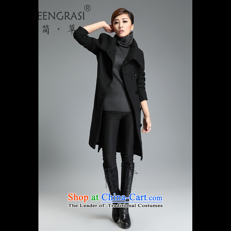 In short-fall and winter 2015 Women's code? a gross jacket coat Korean loose in long thick Sau San cloak Connie sub聽2XL Black