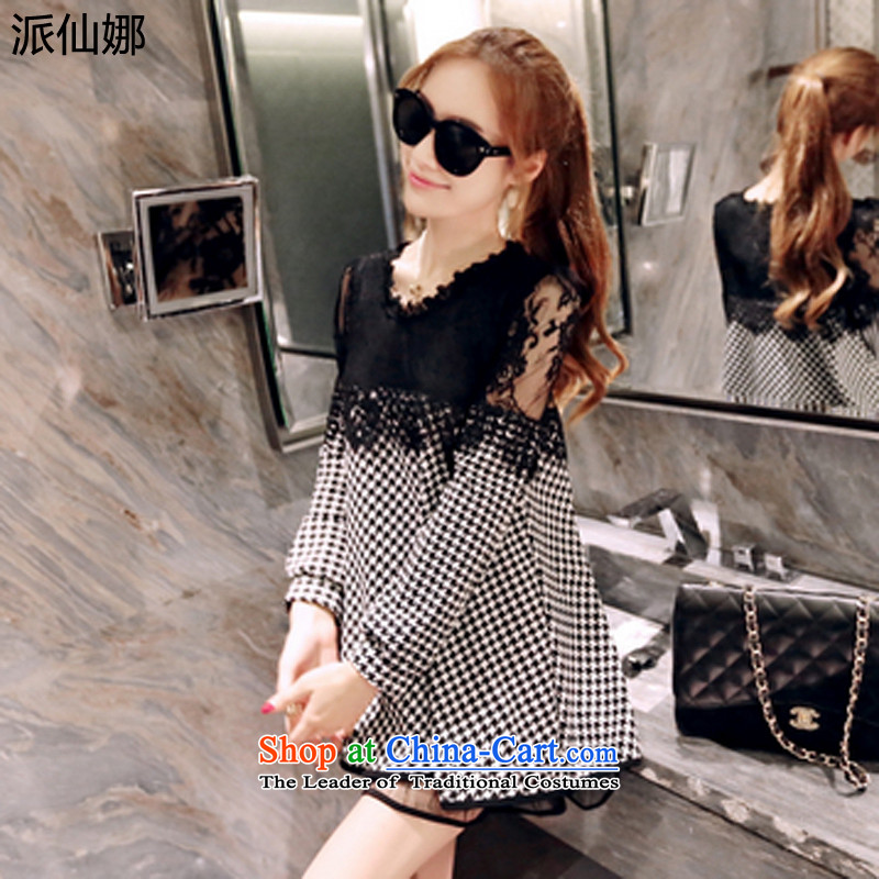 Send the 2015 autumn and winter sin new to increase women's code, forming the sister shirt 200 thick catty thick mm video thin lace thousands of long-sleeved dresses picture color. Large XXXXL