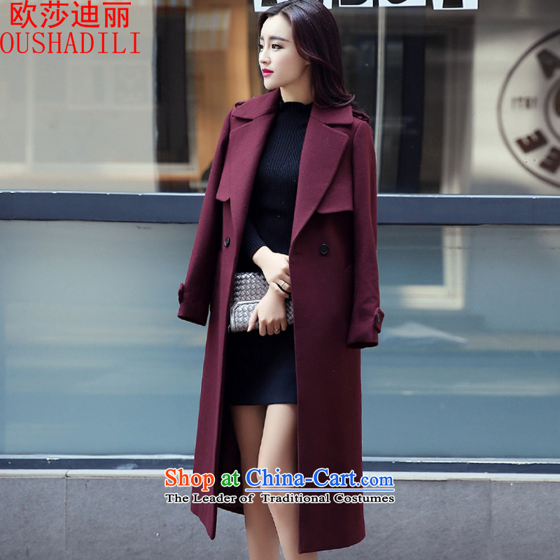 The OSCE's Lai 2015 Elizabeth autumn and winter new graphics thin han bum Sau San long-sleeved jacket female long hair?_ Europe and deep red cloak M