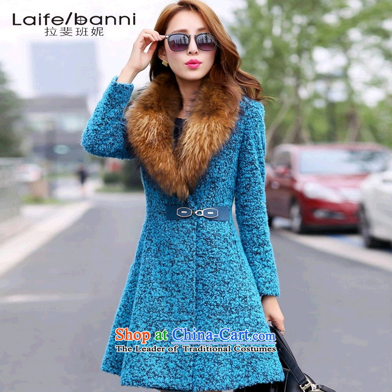 Rafael CORREA Vanina 2015 autumn and winter new gross female Korean jacket? In Long Large Sau San a wool coat Peacock Blue聽XL