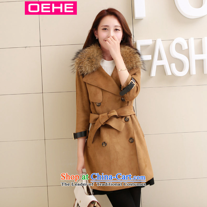 Oehe 2015 autumn and winter new Korean version in the long jacket, Sau San stylish girl video thin lapel long-sleeved coats card its gross? M