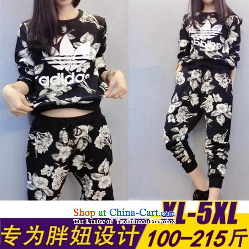 Load New autumn 2015 Korean version of large numbers of ladies thick MM loose, Hin thin, thick leisure and sports centers sister sweater pants and two stamp kit black XXXXXL175-215 catty