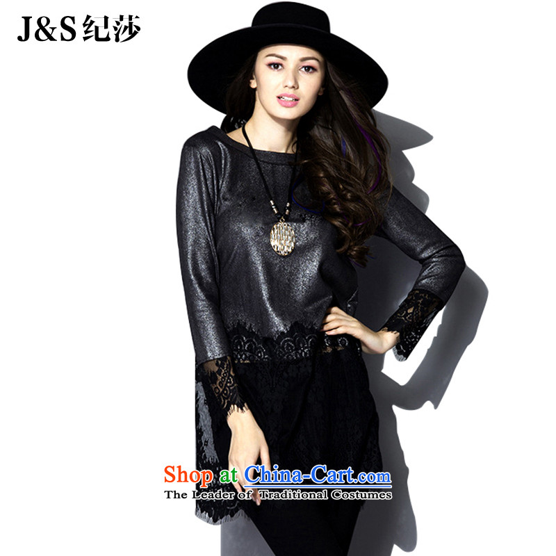 The new 2015 Elizabeth discipline western large high-end female thick sister autumn boxed long-sleeved T-shirt lace to intensify the thick mm solid燽lack silver�L PQT382- Shirt