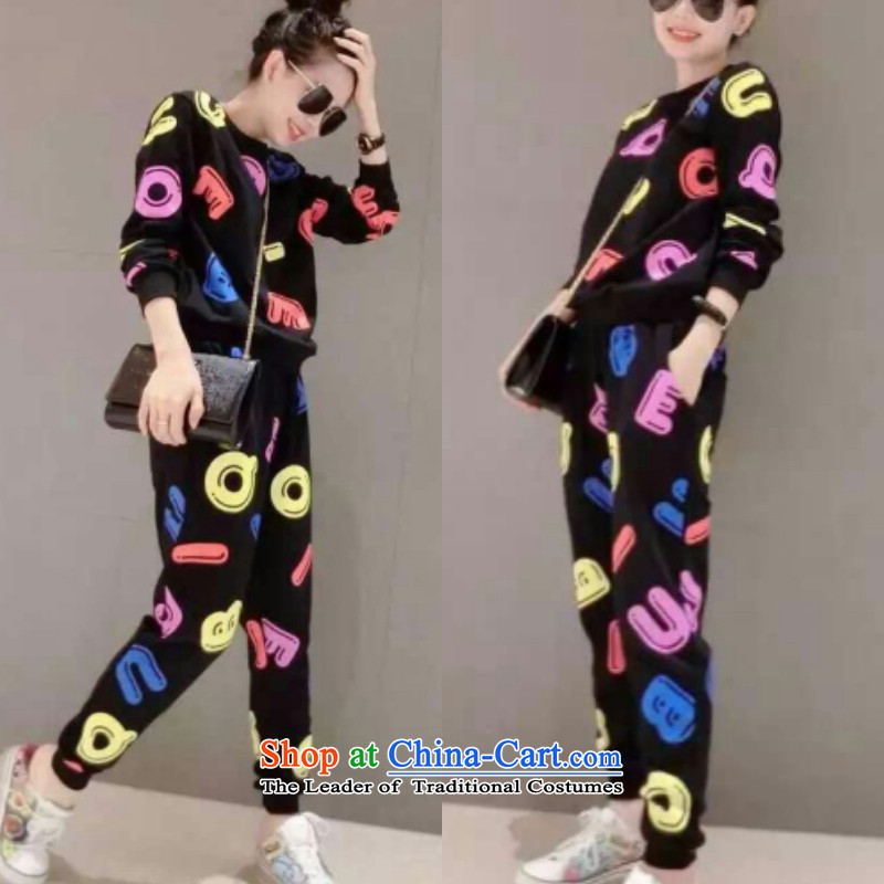 Load the new Korean autumn version female large relaxd thick MM long-sleeve sweater casual pants and two kit thick, Hin thin, thick sister 200 catties stylish sports suits black燲XXL140-160 catty
