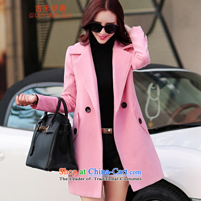 Gil Wo Ika 2015 autumn and winter women's gross?? jacket coat female Hair Girl pink燤
