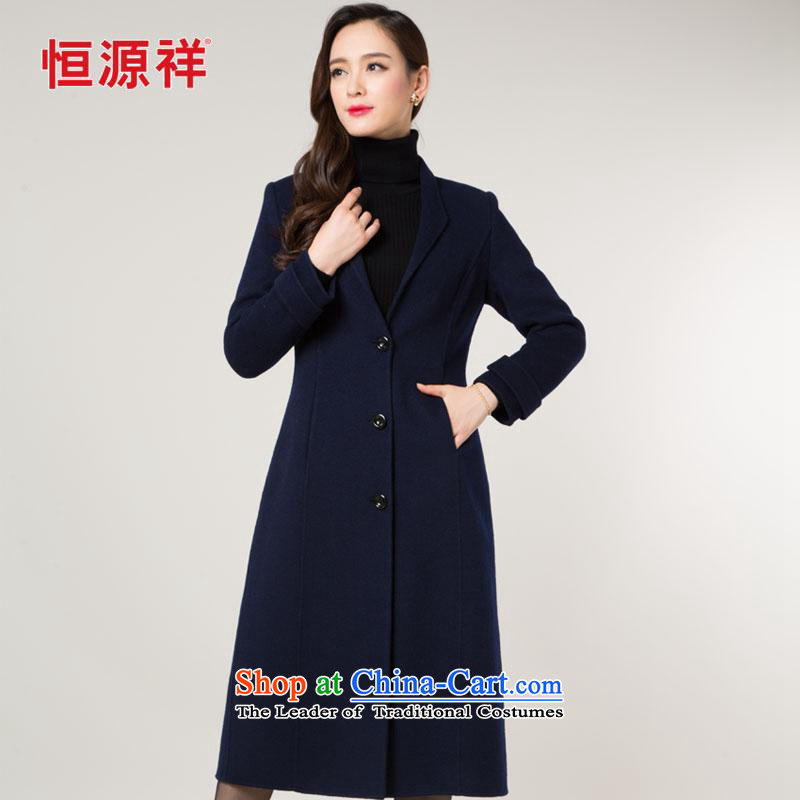 Hengyuan Cheung girls jacket wool? Long 2015 new temperament Sau San full manual woolen coat two-sided color navy?L_170?